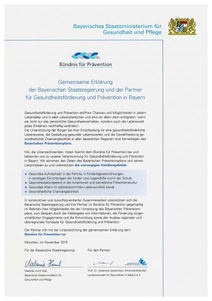 Offizielles Dokument zur gemeinsamen Erklärung des Bündnises für Prävention